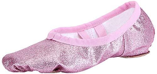 Nzcm Ballettschuhe Mädchen Ballettschläppchen Ballett Schläppchen Kinder Gymnastikschuhe Damen Ballerina Tanzschuhe mit Geteilte Sohle, A Rosa , 31 EU