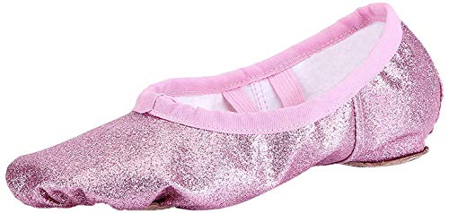 Ballettschuhe Mädchen Ballettschläppchen Ballett Schläppchen Kinder Gymnastikschuhe Damen Ballerina Tanzschuhe mit Geteilte Sohle Rosa Gr.27