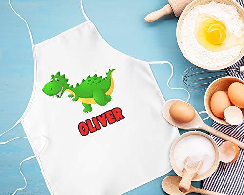 Toll2452 Delantal de dinosaurio para niños, delantal personalizado para fiestas de cocina, delantal personalizado para niños, regalo de dinosaurio para niños, delantal impreso para niños