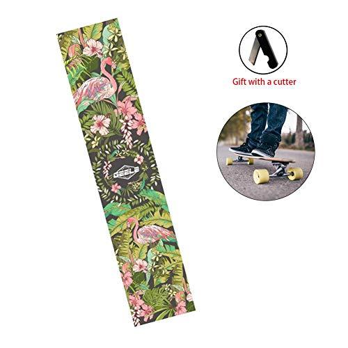 iBâste 47,25''x9,85 '' Skateboard-Grip-Tape-Blatt, langes Skateboard-Schleifpapier ohne Blasen, wasserdichter Roller-Aufkleber, Longboard-Grip-Tape, Schleifpapier für Rollerboard mit Cutter