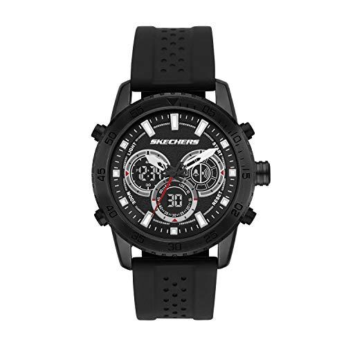 Skechers Men's Truxton Alloy Steel Quartz Watch with Silicone Strap, Black, 24 (Model: SR5156)