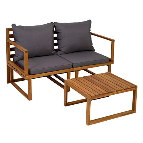 greemotion Balkonmöbel-Set Dijon, Sitzgruppe aus Akazienholz FSC® 100 %, Balkonset mit Tisch und zwei Stühlen, Gartenmöbel-Set inkl. Sitzkissen