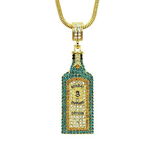 Hip Hop Halskette Dimensionale Farbe Diamant Anhänger Flasche für Valentinstag Frauen Männer Bombay Sapphire Dry Gin