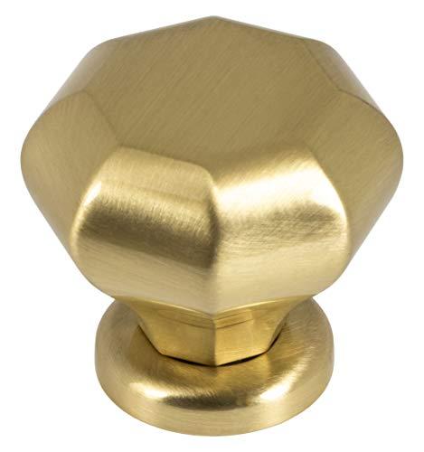 Gedotec Möbelknopf Antik Schrankknopf Vintage retro - ZELDA | Metall Türknopf eckig | Schubladen-Knopf Ø 37 mm | Kommoden-Knopf Kleider-Schränke & Küche | 1 Stück - Design Tür-Knauf Messing Gold matt