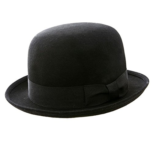 VIZ - Cappello a bombetta classico, rotondo, in feltro, 100% lana, colore nero