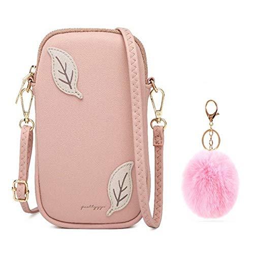 Flywill Pequeño bolso cruzado con ranuras para tarjetas de crédito, para mujeres, teléfono móvil, bandolera, bolso de hombro, rosa (Rosa) - XieKuaBao-P-Fen+FenQiu