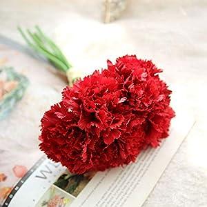 MoonyLI Artificial Silk Flower Carnation Artificial Flower Bouquet Bouquet for Party Wedding Home Decoration 6 Heads