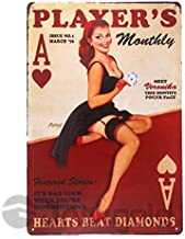 Tin Plate Vintage Metal Sign,Player's Girl Metal Sign Home Decor Sexy Poster House Rules Wall Art Bar Decor Aluminum Plate,Home Art Deco Poster Vintage 8×12inch