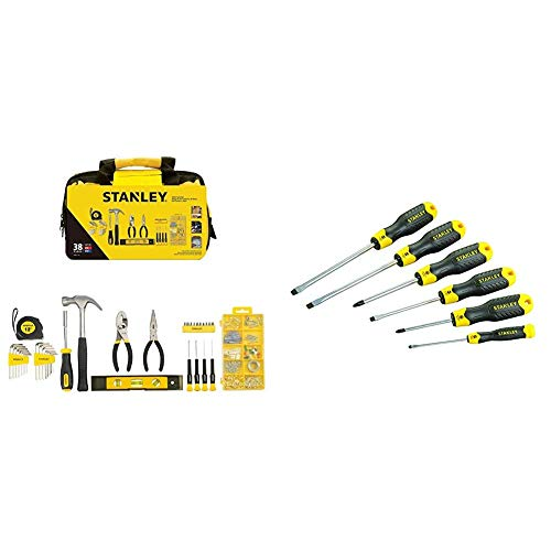 Stanley Material Tool Set, 38 Pieces, STMT0-74101 & STANLEY 6 Piece Cushion Grip Screwdriver Set, Parallel/Pozi/Flared