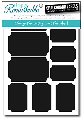 "Simply Remarkable Reusable Chalk Labels - 20 Ticket Shape 2.5"" x 1.25"" Chalkboard Stickers Wipe Clean and Reuse Organizing, Decorating, Crafts, Personalized Hostess Gifts, Wedding and Party Favors"