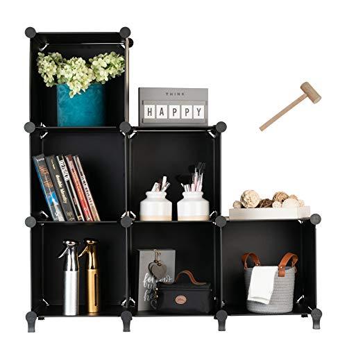 Homeries Cube Storage System – Modular DIY Plastic Closet Organizer Rack Storage Shelves Bookshelf Bookcase for Bedroom Office Dorm Room College Living Room  Black 6Cube