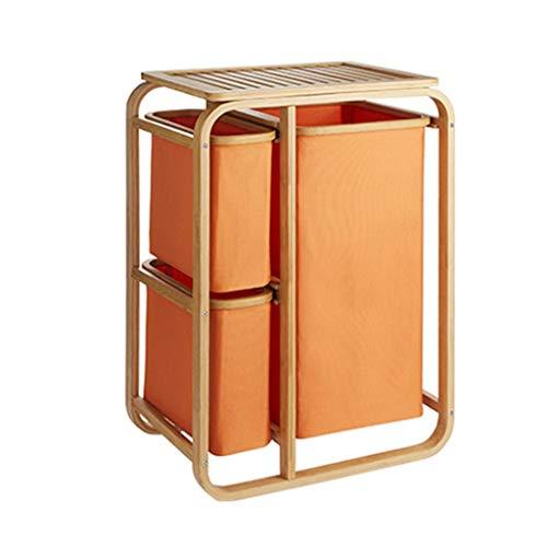 HNWNJ Cajas de almacenaje Frame cestos de lavandería Cesto Clasificador en suelo de bambú 3 Secciones portátiles grandes sucios cesta de ropa del organizador for baño dormitorio principal, fácil de mo
