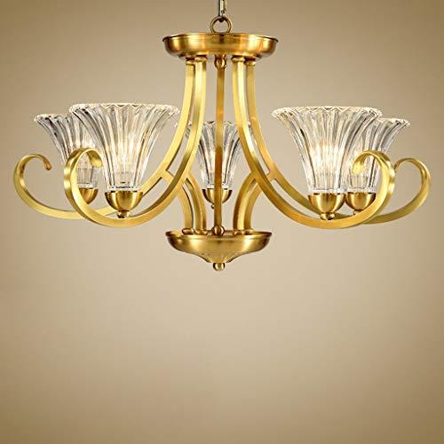 HIGHKAS - American Village Full Copper Wohnzimmer Kronleuchter Europäische Kupferlampen Restaurantbeleuchtung Schlafzimmerbeleuchtung einfache Beleuchtung (Farbe: 3-Kopf 66 * 35cm)