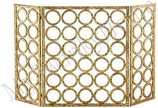 52.5 W x 30 H Pilgrim Home and Hearth Pilgrim Solid Bar Fireplace 18221 Rectangular Tri Panel Screen Vintage Iron