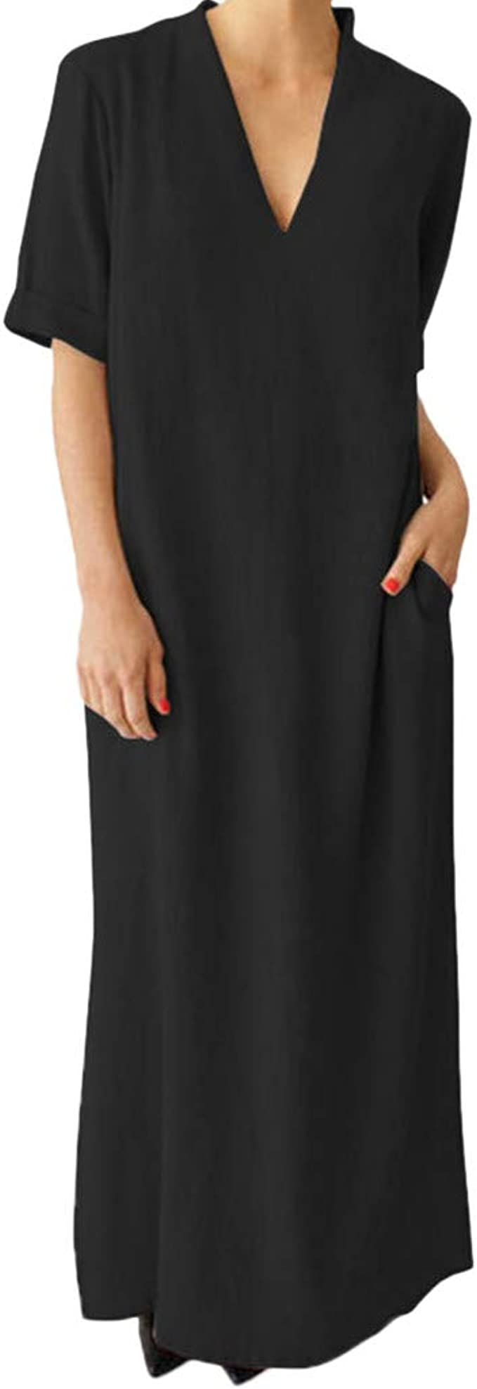 Goosuny Damen Leinen Sommer Kleider Kurzarm Maxikleider V Ausschnitt Kleider Einfarbig Leinenkleid Strandkleid Lang Kleid Mit Taschen Amazon De Bekleidung