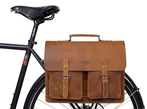 Gusti Fahrradtasche Leder - Marc Aktentasche Gepäckträgertasche Businesstasche Umhängetasche Schultertasche wasserfest kompatibel mit Klickfix Braun