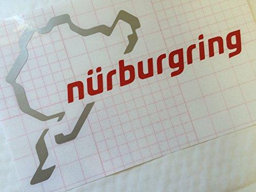 ドイツ ニュルブルクリンク カッティングステッカー 9cm×15cm シルバー/レッド