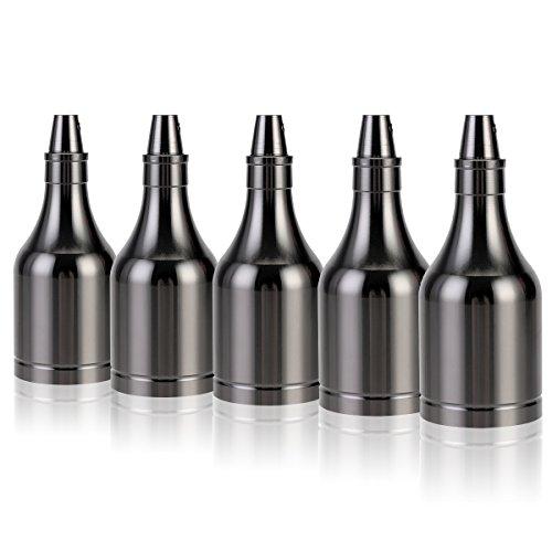 5x GreenSun LED Lighting Vintage Flasche Edison Stil E27 Lampenfassung Deckenfassung Lampensockel Retro Alu E27 Fassung für Pendelleuchte Deckenleuchte DIY Beleuchtung Adapter, Schwarz