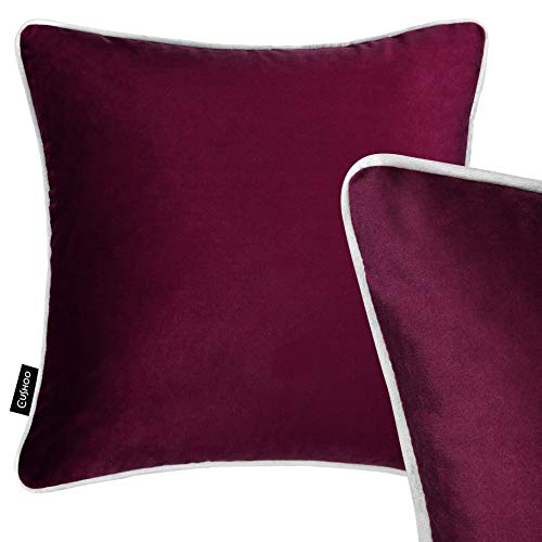 Burgundy Red Velvet Scatter Cushion with Light Grey Piping, 45cm x 45cm - Home Decorative Square Plush Pillow for Sofa, Bed and Chair Cushoo UK