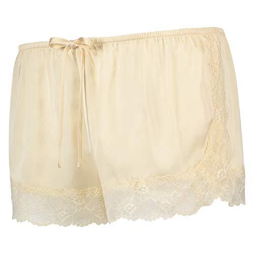 HUNKEMÖLLER Damen Pyjama-Shorts aus Spitze und Satin Beige S