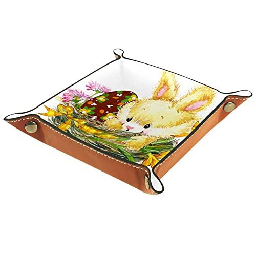 Bandeja de valet caja de almacenaje 16x16CM,conejo en el nido