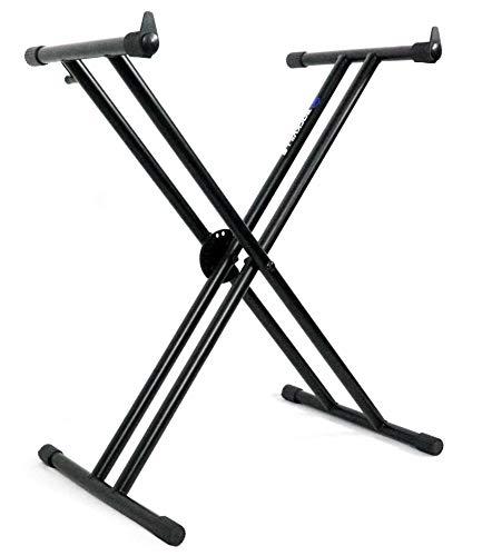 Rockville RKS30X Double X Braced Keyboard Stand w Push Button Lock Mechanism
