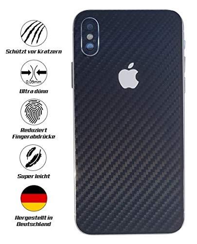 TKCase iPhone XS Skin Rückseite Schutzfolie Folie Kratzschutz (Carbon Schwarz)