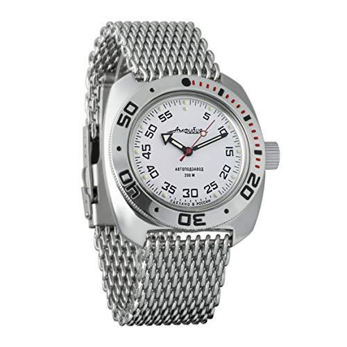 VOSTOK Amphibian 710825 - Reloj de Pulsera para Hombre (Correa de Malla de 200 m, diseño de la Bandera de Reino Unido)