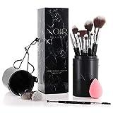 Noir Deluxe - Juego de pinceles y brochas de maquillaje profesionales con rizador de pestañas, esponja y estuche