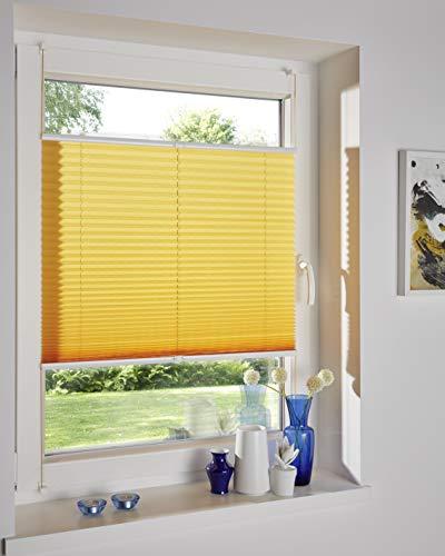 DecoProfi PLISSEE melonengelb, verspannt, Breite 110cm x 130cm (max. Gesamthöhe Fensterflügel), mit Klemmträger / Klemmfix / ohne Bohren - 2