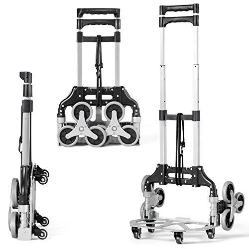 DREAMADE Faltbare Transportkarre mit Sternförmigen Rädern, Treppensteiger Sackkarre mit Verstellbarem Griff & festem Hakenseil, Stapelkarre max. 80kg Tragfähigkeit