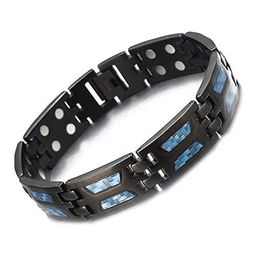 Dikte titanium magneetveldtherapie-armband twee rijen 4 bio-elementen energiebalans magneetveldtherapie-armband voor heren artritis reliëf pain