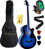 Vizcaya Full Size 4 Strings Cutaway Acoustic-Electric Bass Guitar With 4-Band Equalizer,5mm Padding Gig Bag,Strap, Picks-Blue