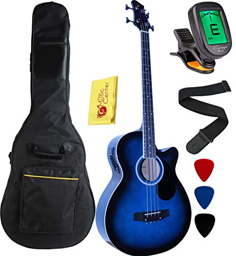 Vizcaya Full Size 4 Strings Cutaway Acoustic-Electric Bass Guitar With 4-Band...