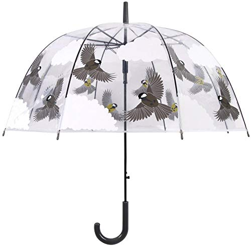 Esschert Design Schirm 2-seitiger Vogel aus Kunststoff, mit Metallstiel, Ø 80,8 x 81 cm, transparent, in Vogel/Wolkenoptik, Grauer Kunststoffgriff