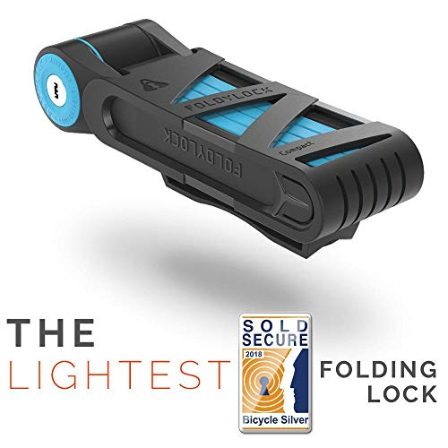 FOLDYLOCK Compact Bike Lock Blue | Extreme Bike Lock - Heavy Duty Bicycle Security Chain Lock Steel Bars| Carrying Case Included| Unfolds to 85cm / 33.5"