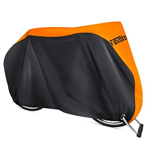 Favoto Funda para Bicicleta Exterior, 210D Oxford Cubierta Protector Impermeable al Aire Libre contra Lluvia/UV/Polvo/Nieve con Orificio de Bloqueo para Montaña Carretera, 200x70x110cm Negro+Naranja