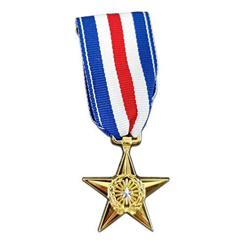 Kocreat Medalla militar de la estrella de plata de los Estados Unidos Insignia de recuerdo de estrella de bronce - WW2 USA URSS insignia militar