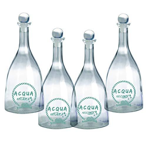Set 4 pezzi Bottiglia in vetro per acqua Naturale e Frizzante mod. Viola 750ml con tappo a sfera