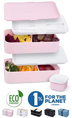 Umami® ⭐ Premium Lunchbox – 1 Soßendose & 3-teiliges Besteck – Japanische Luftdichte Bento Box – Brotdose mit Fächern – Zero Waste – Mikrowellen- & Geschirrspülerfest – BPA-frei – 5 Jahre Garantie