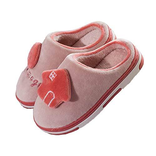 Wxyfl Zapatillas de Algodón para Niñas Y Niños Pantuflas de Invierno Antideslizantes de Felpa Suave y Cálida De Invierno para Interiores y Exteriores,Leather Red,19.5cm