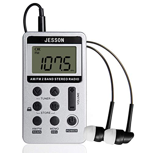 JESSON Personal Digital Tuning AM FM Pocket Portable Radio, AM FM Compact Transistor Radios with Rechargeable Battery and Earphone for Walk-Sliver