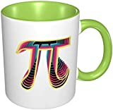 Pi Day Math - Taza de café de porcelana con mango de cerámica para capuchino, té, cacao y cereal verde, 11 oz