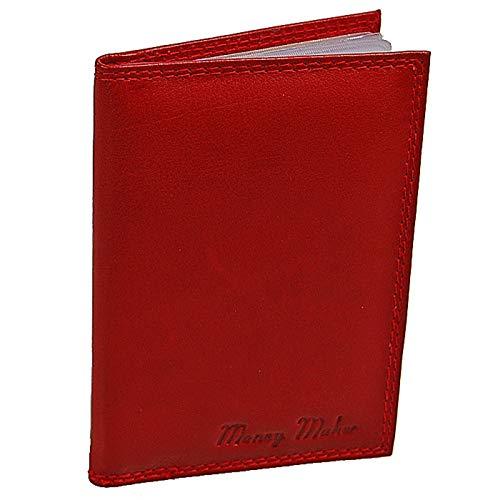 GoBago Ausweisetui Leder Ausweismappe Ausweishülle Kreditkartenetui Führerschein (Rot)