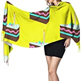 Colorido postre, mousse de chocolate, bufanda barata, bufanda de viaje para niñas, bufanda de cachemira, 196 x 68 cm, grande, suave, pasmina extra cálida
