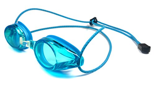 Resurge Sports Anti Fog Racing Swimming Goggles with Quick Adjust Bungee Strap (Blue)
