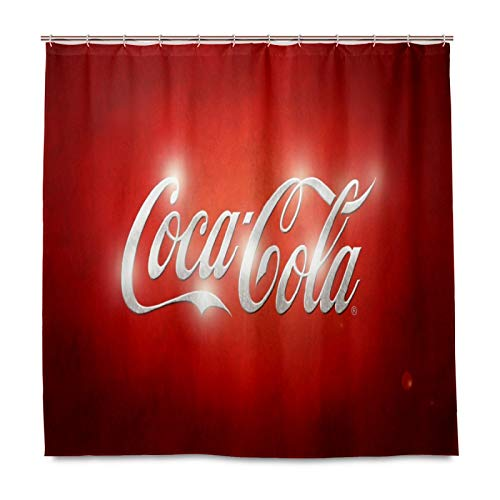 Red Coca Cola Sign Shower Curtains for Bathroom 60 x 72 inches with 12 Hooks Accessories Home Decorative Custom Waterproof Bathroom Curtains for Kids Girls Boys