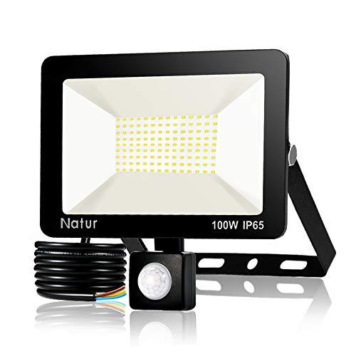 100W Foco LED con Sensor de Movimiento, Proyector Led Exterior Super Brillante...