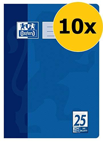 Oxford Schulheft A4, Heft liniert mit Rand, Lineaur 25, 32 Blatt, blau, 10er Pack
