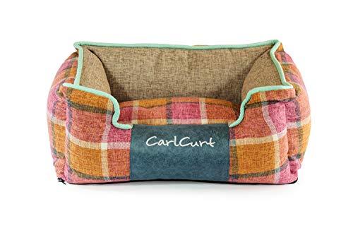 CarlCurt - Fashion Line: Kuschelweiches Hundebett Mit Angenehmen Weichen Kissen Und Strapazierfähigen Außenteil Aus Leinengwebe, L 83 x 74 x 28cm, Orange-Rot